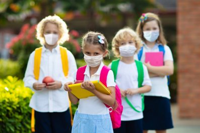 Kids in Masks stock photo