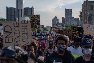 Protesters in Detroit, Michigan