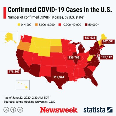Spread of COVID-19 cases in U.S.