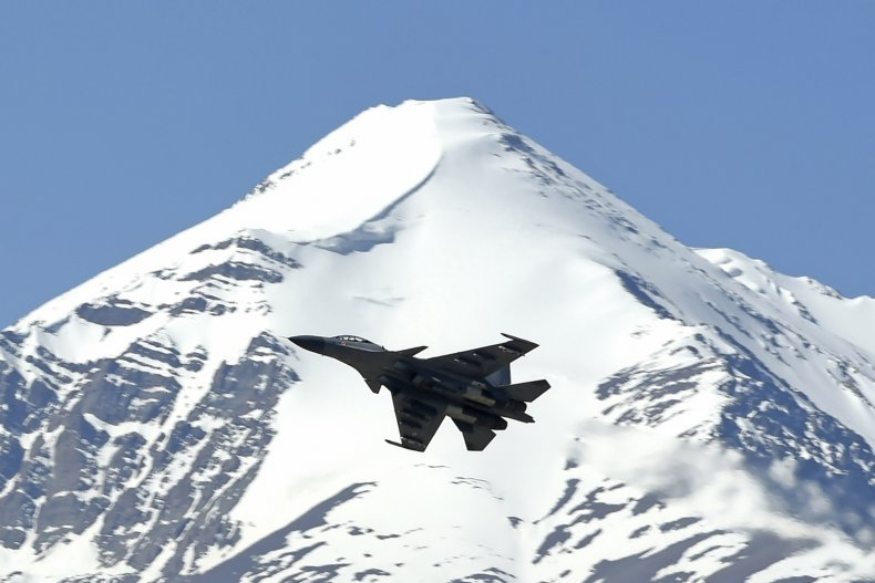 Indian fighter jet in the Himalayas