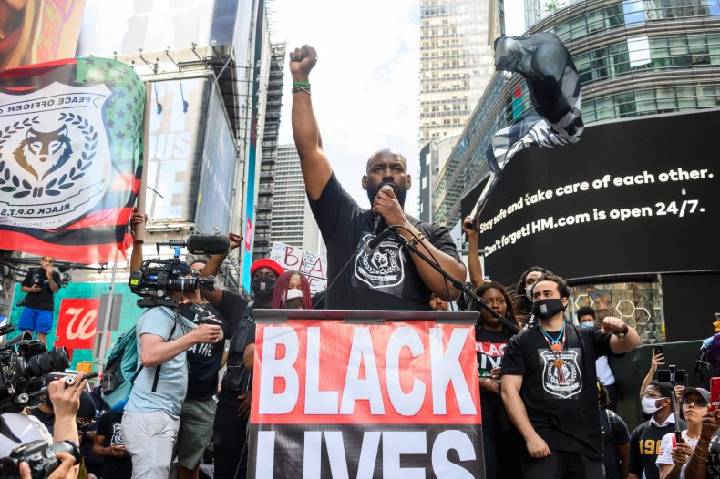 Chairman of Black Lives Matter Greater New York Hawk Newsome speaks at a Black Lives Matter rally in Times Square on June 7, 2020 in New York, New York.