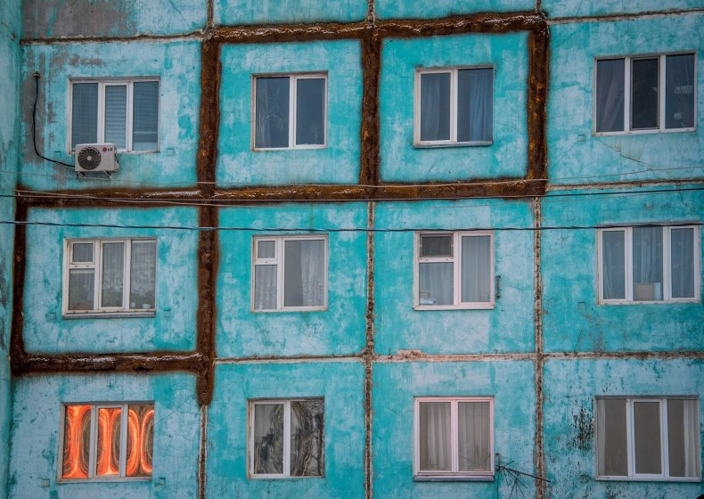 cracked building, permafrost, Yakutsk, Russia