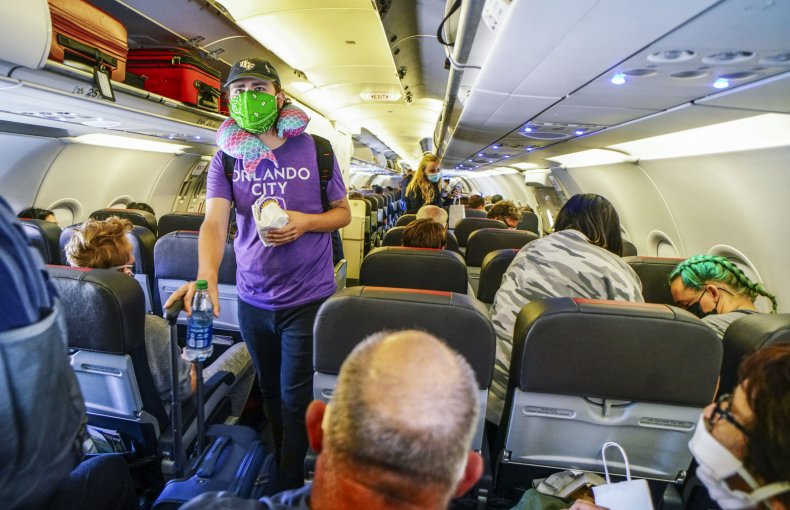 American Airlines flight, San Diego, May 2020