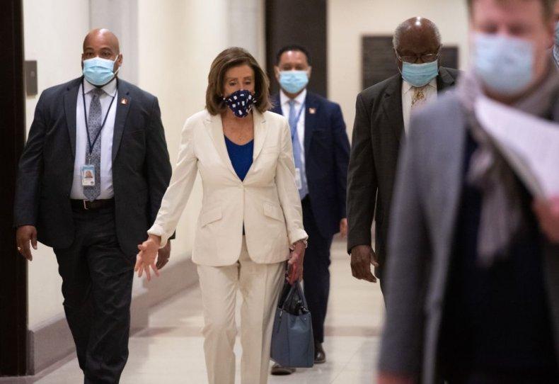 Nancy Pelosi with a mask