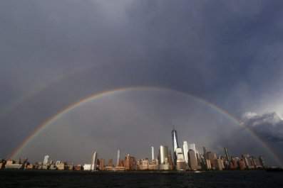 Rainbow Over Lower Manhattan in New York
