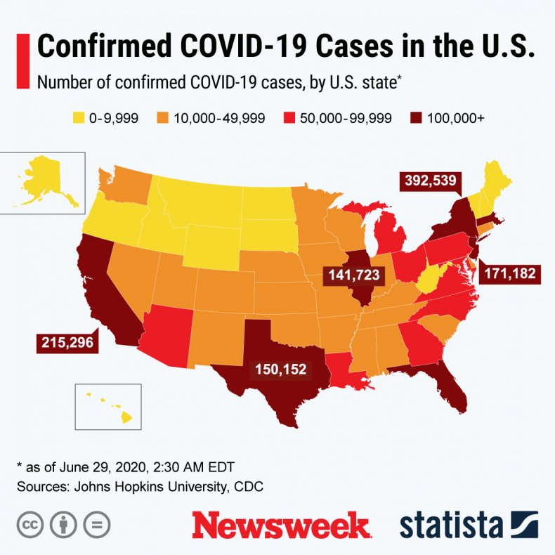 Confirmed COVID-19 cases in U.S.