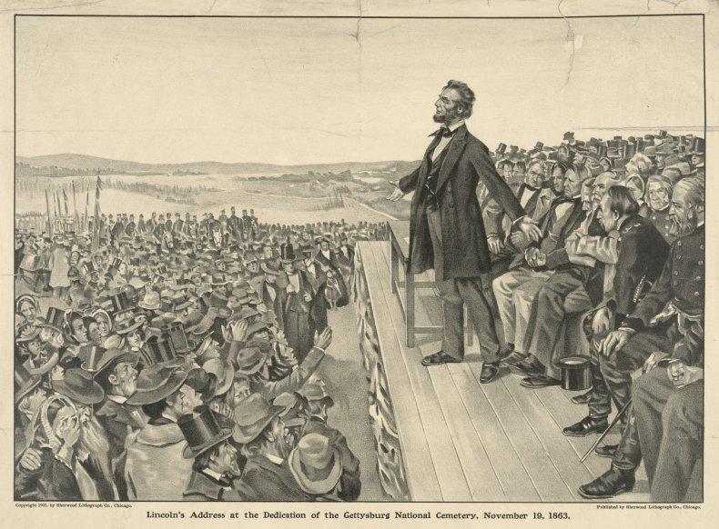 Abraham Lincoln speaking at Gettysburg