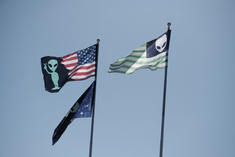 Alien flags over campsites