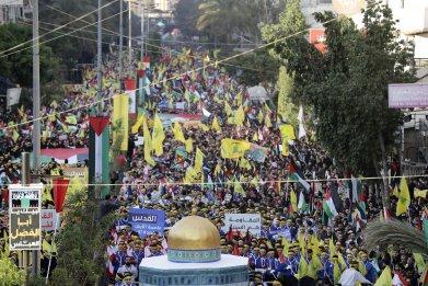 Hezbollah flags waving in Beirut, Lebanon
