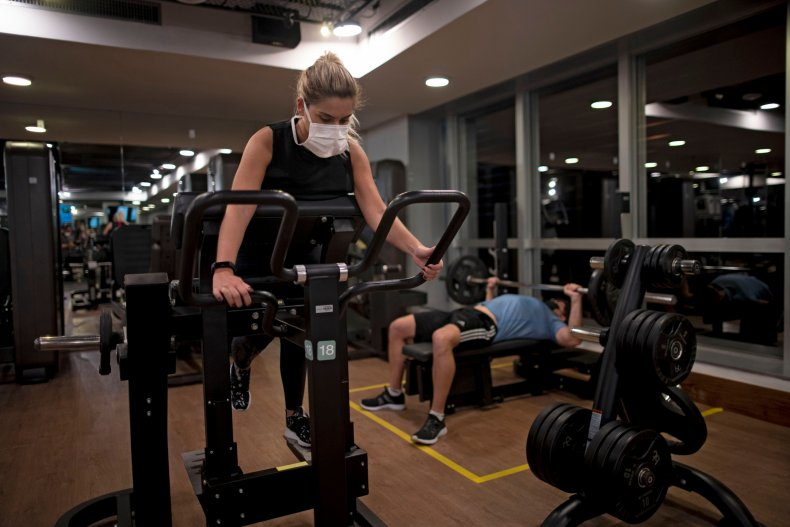 Woman working out in Brazil gym