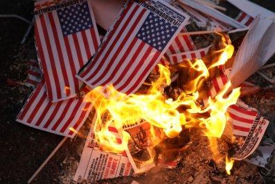 Burning US flags