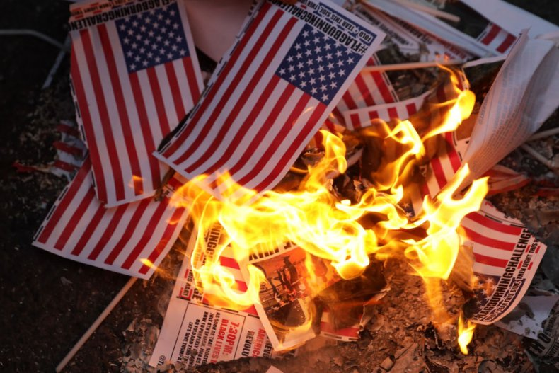 Burning US flags