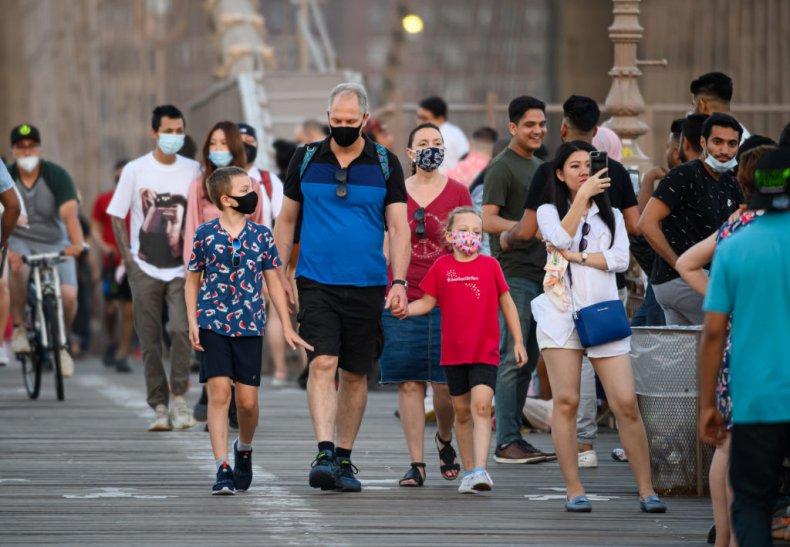 Masks on the Brooklyn Bridge