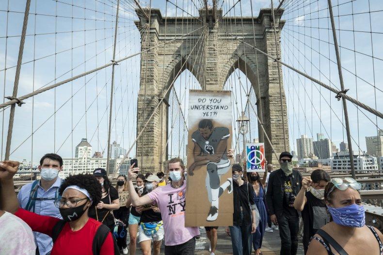 Brooklyn Bridge Protester