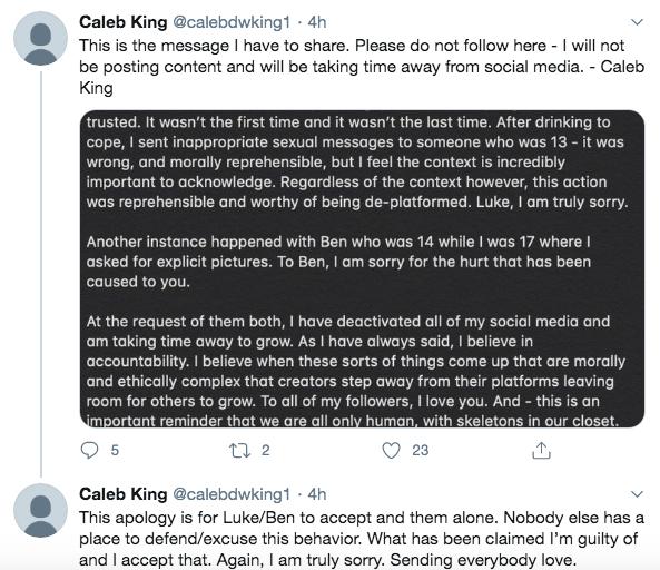 TikTok star Caleb King apologizes for sexual texts to minor