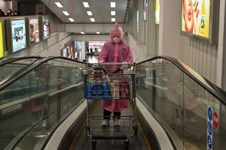 Costco shopper in protective gear