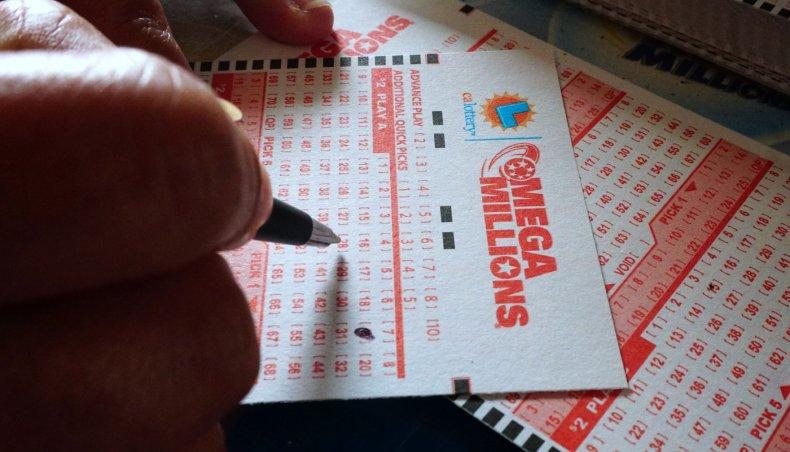 Mega Millions lottery ticket in Los Angeles