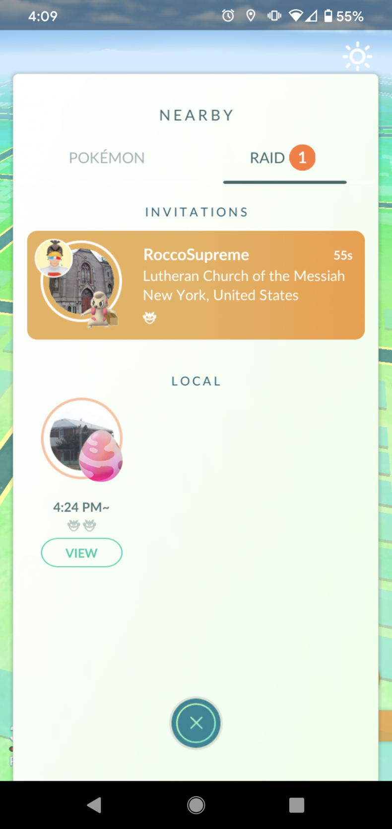 pokemon go invite raid nearby