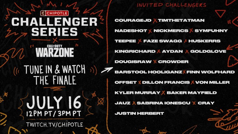 chipotle challenger series 2 start time teams
