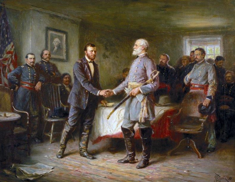 Robert E. Lee surrendering to Ulysses S.Grant