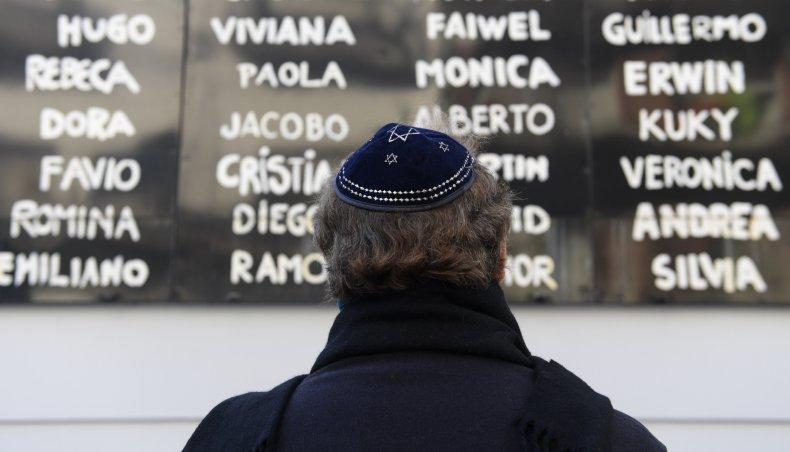 Jewish Argentine man praying on 23rd anniversary