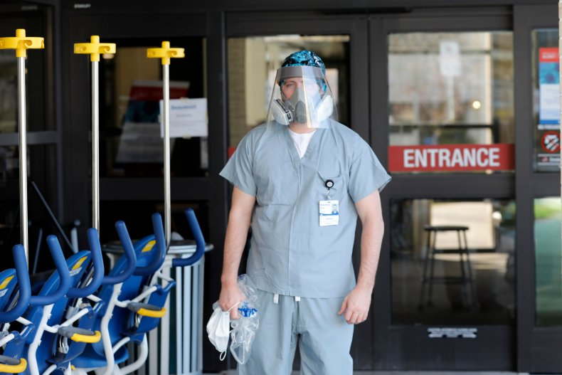Nurse with face shield