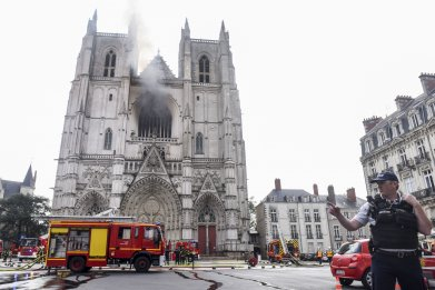 Nantes, cathedral fire, France