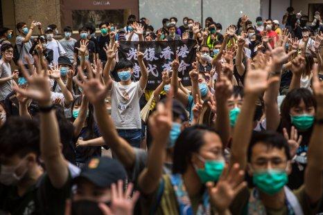 Protesters chant slogans in Hong Kong