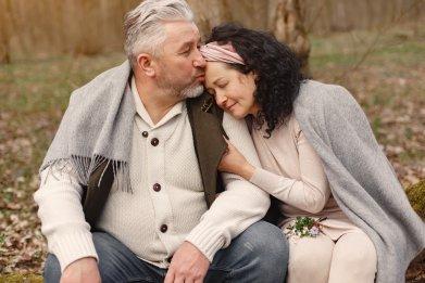 senior couple cuddling