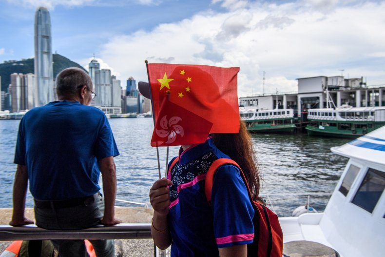 china, hong, kong, flag, victoria, harbor