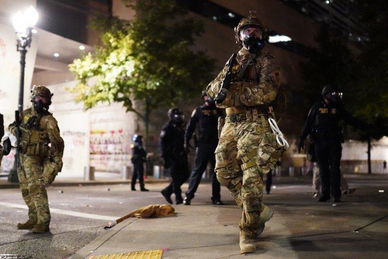 Federal agents at Portland, Oregon protest