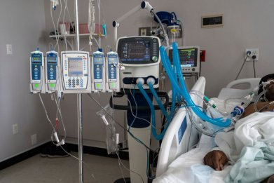 Patient connected to a ventilator in Texas