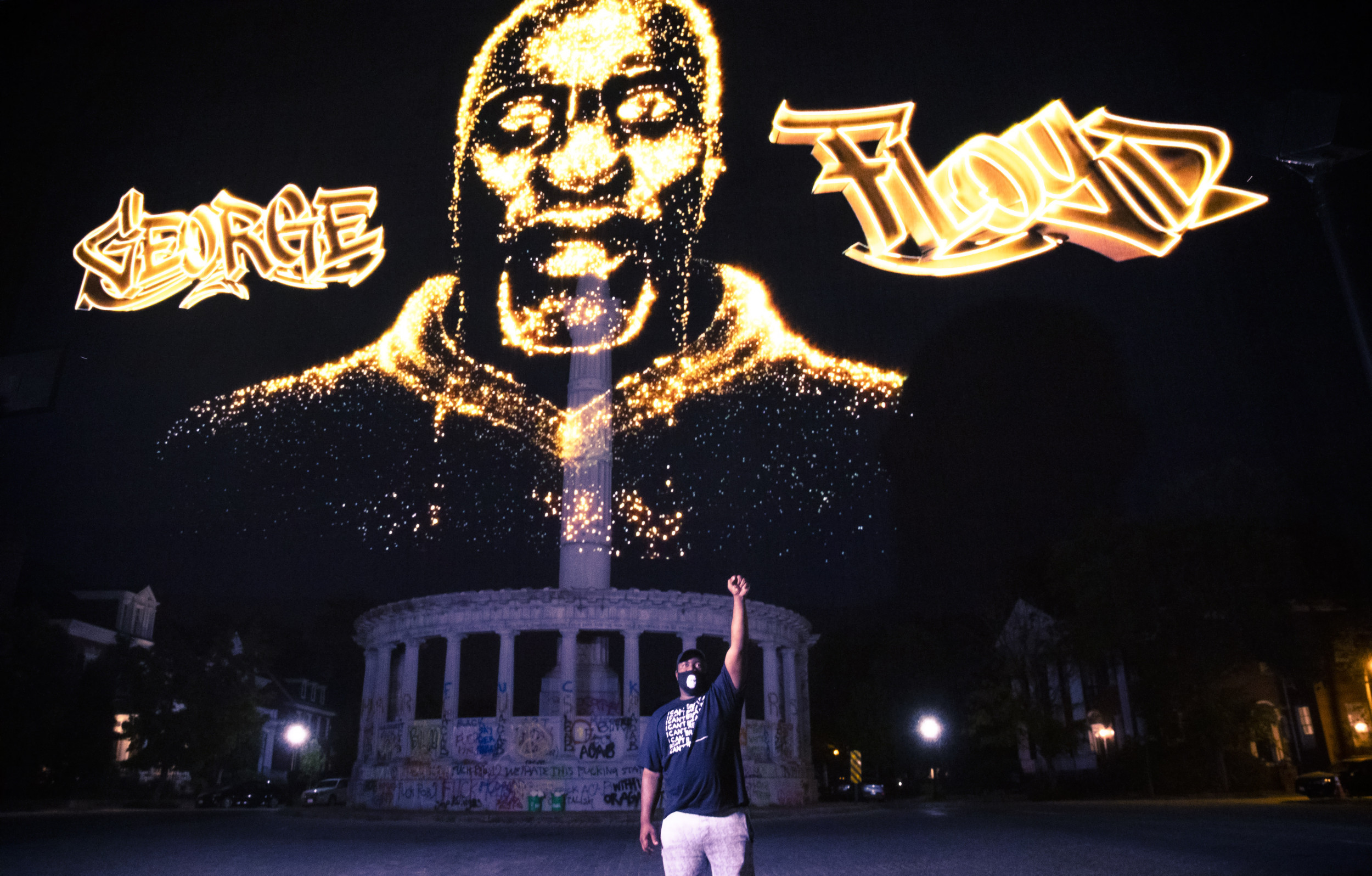 George Floyd Hologram Appears at Sites of Confederate Statues