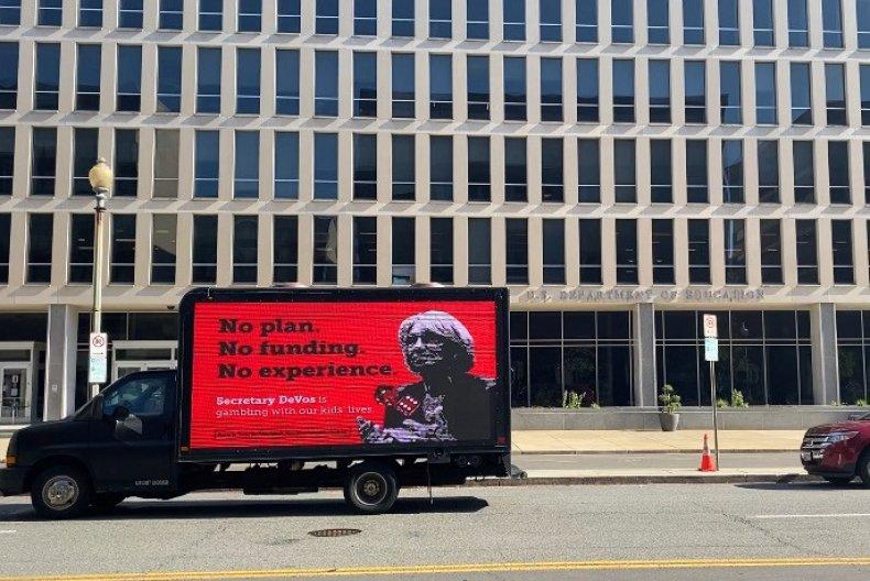 Betsy DeVos mobile billboard