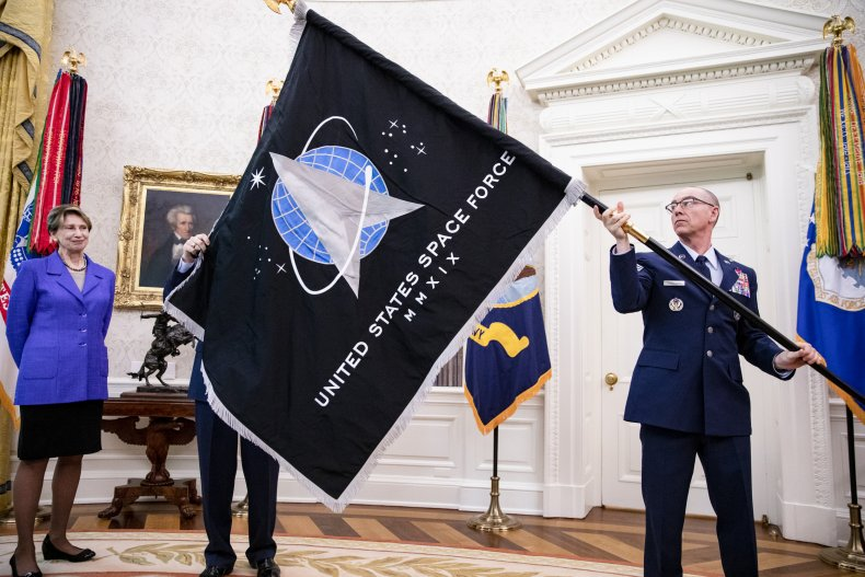 Space Force flag in Oval Office