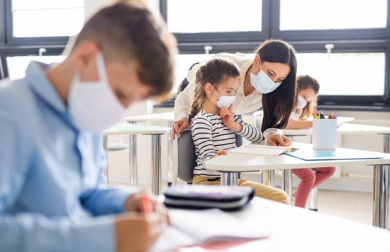 Children with Masks at School