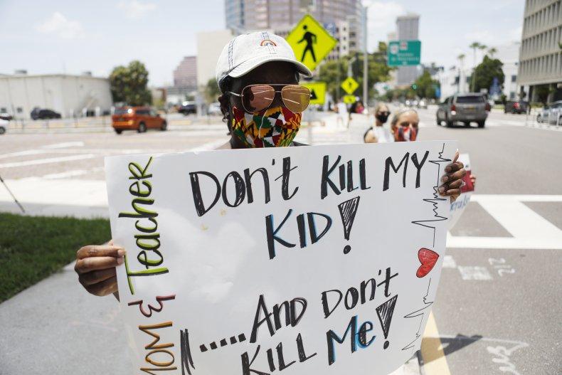 Tampa, Florida, teacher, protest, July 2020