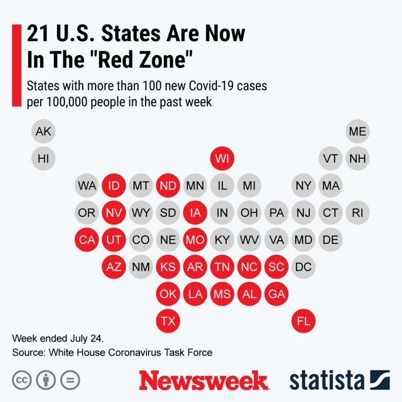 U.S. states in the Red Zone COVID-19