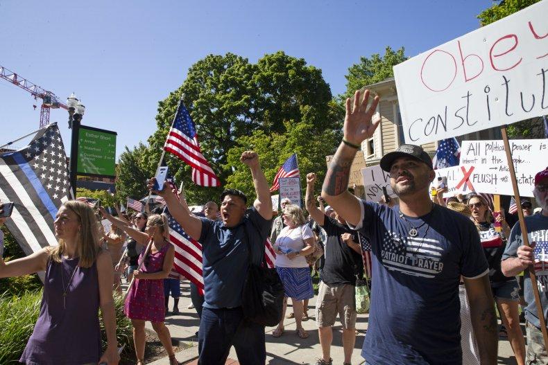 Washington state mask mandate protest June 2020