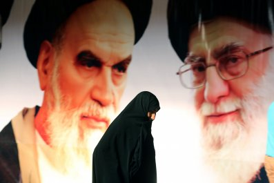 Iranian woman walking in front of ayatollahs