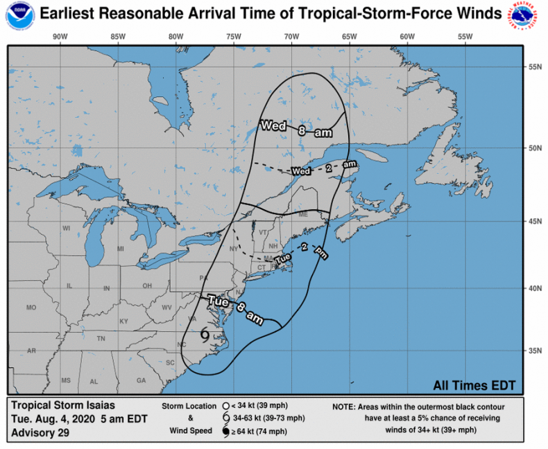 Tropical Storm Force Winds Isaias