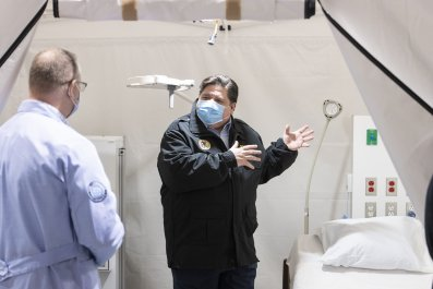 Gov. J.B. Pritzker at COVID-19 Facility
