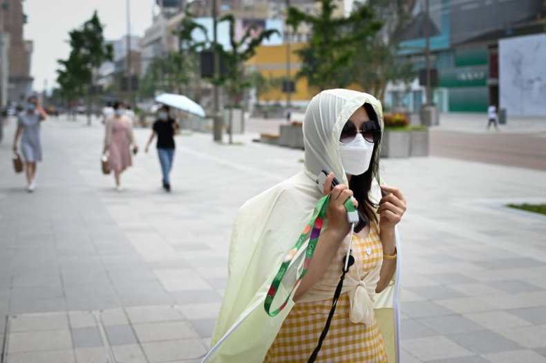 Asian woman in face mask