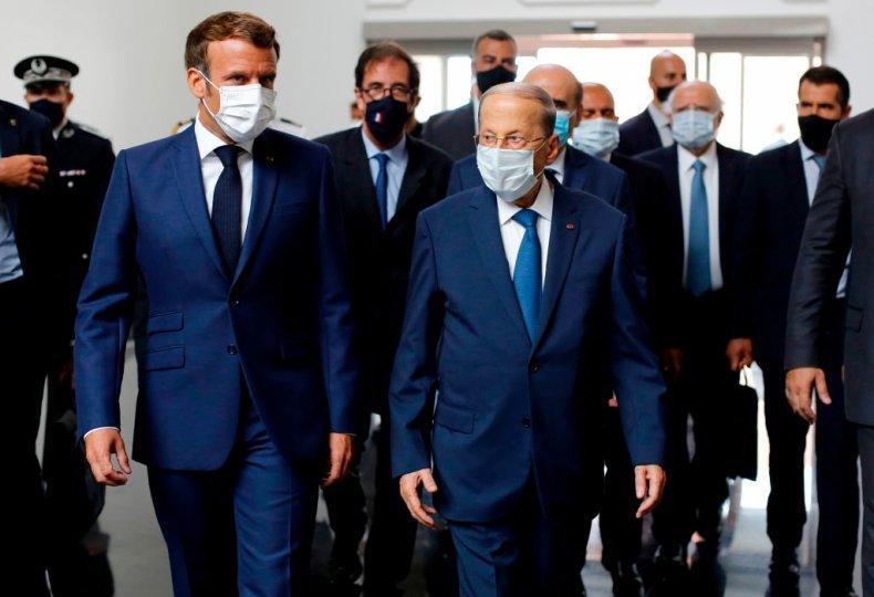 Macron and Michel Aoun