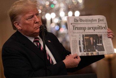 President Trump celebrating acquittal