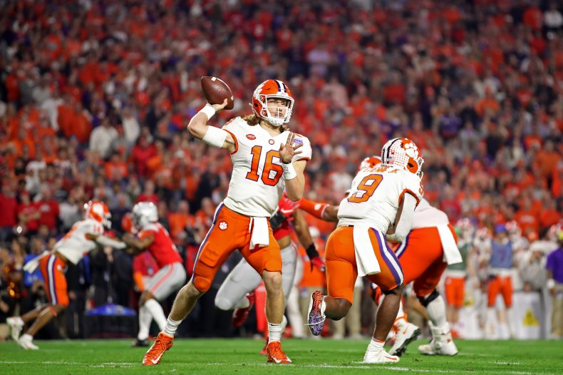 Trevor Lawrence #16 of the Clemson Tigers