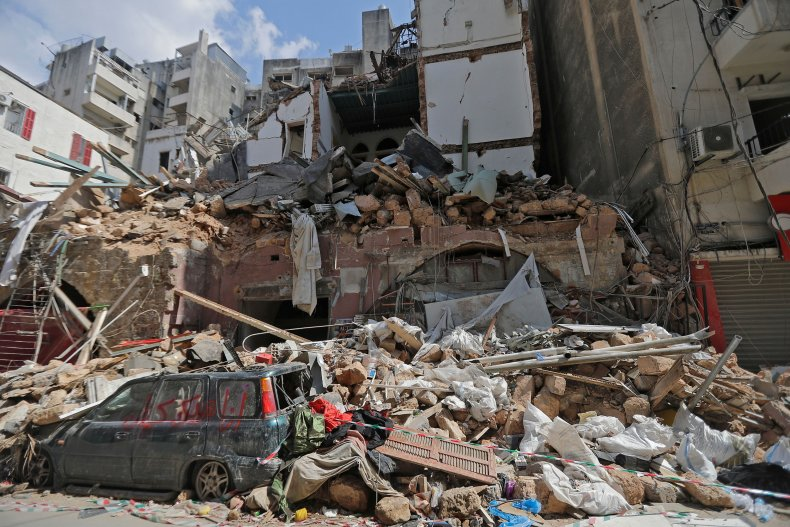 Destruction in Beirut, Lebanon