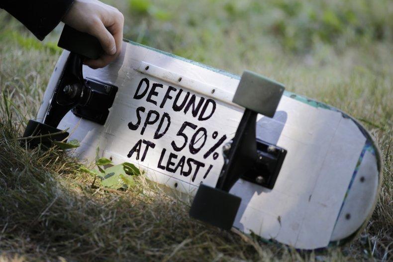 """A """"defund"""" advocate in Seattle"""