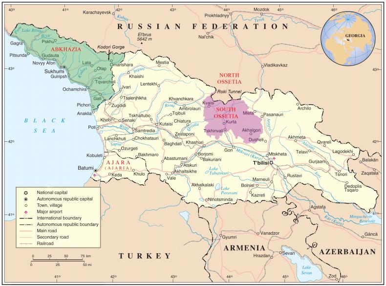 georgia, abkhazia, south, ossetia, map