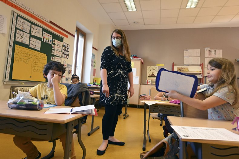 Elementary school classroom in France during coronavirus